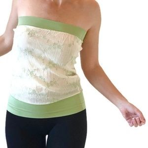 Crepe Lined Floral Embroider White Tube Top